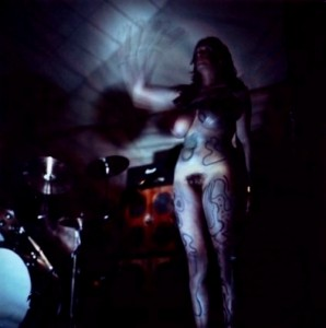 Hawkwind and their dancer, Stacia.