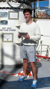 Navigator Joseph Pullen proudly displaying the Braven 600