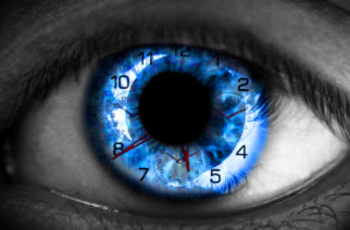 Human eye with clock - Time concept